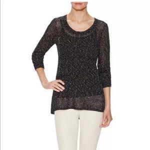 Eileen Fisher open knit linen pullover sweater